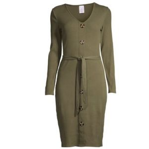 NWT  Belted Button Front Midi Dress Green